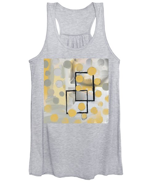 Gold And Grey Abstract Women's Tank Top