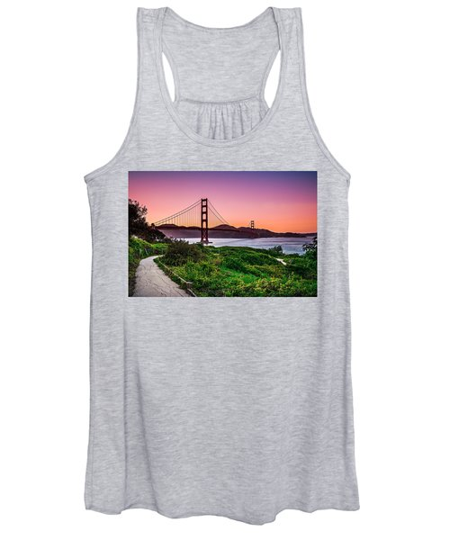 Golden Gate Bridge San Francisco California At Sunset Women's Tank Top