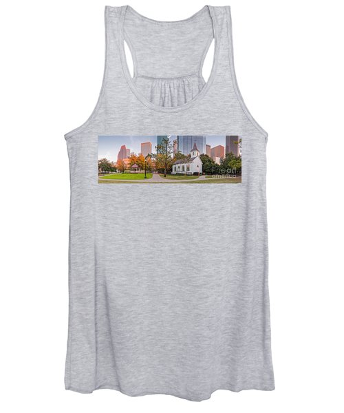 Golden Hour Fall Panorama Of Downtown Houston And St. John Church At Sam Houston Park - Texas Women's Tank Top