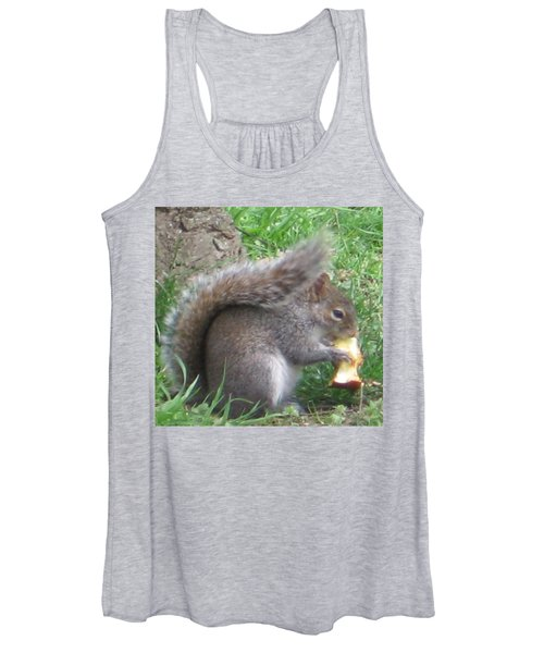 Gray Squirrel With An Apple Core Women's Tank Top