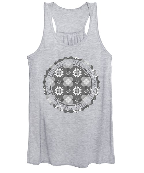 Grey Circles And Flowers Pattern Women's Tank Top