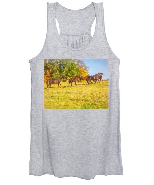 Group Of Morgan Horses Trotting Through Autumn Pasture. Women's Tank Top