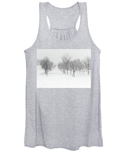 Grove Of Trees In A Snow Storm Women's Tank Top