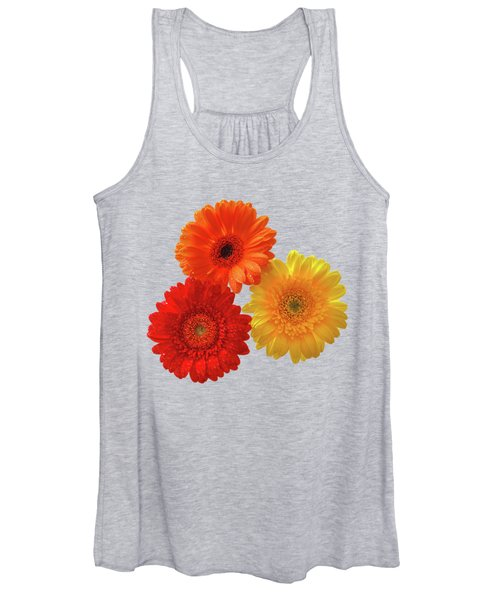 Happiness Orange Red And Yellow Gerbera On Blue Women's Tank Top