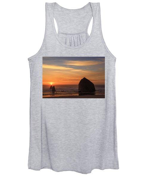 Haystack Rock Ocean Sunset, Cannon Beach, Oregon Women's Tank Top