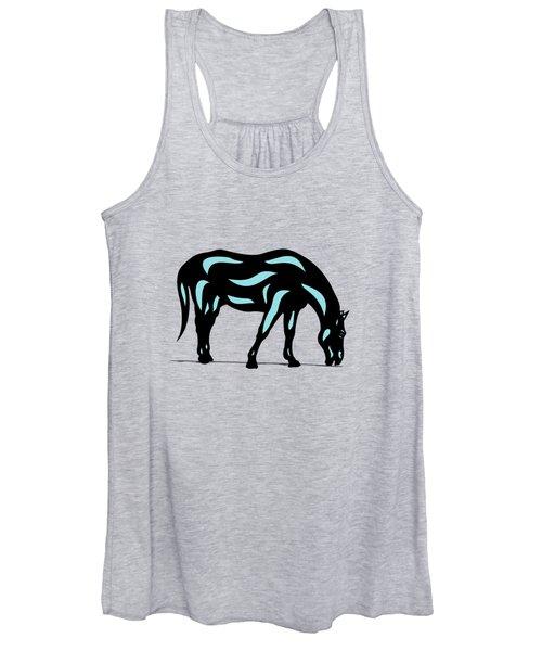 Hazel - Pop Art Horse - Black, Island Paradise Blue, Hazelnut Women's Tank Top