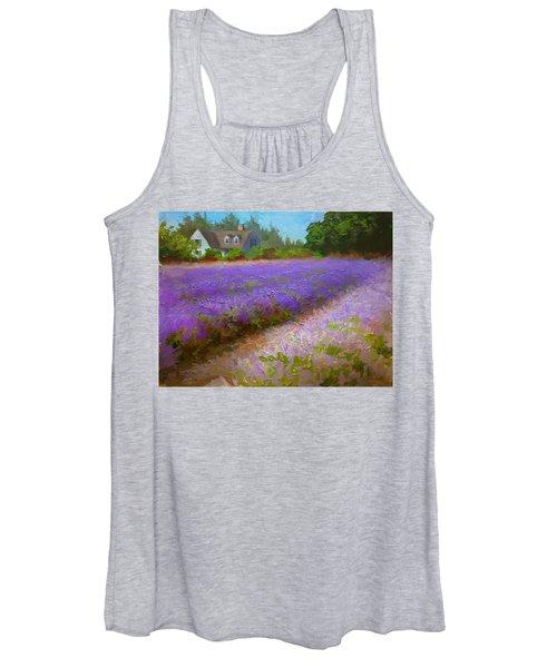 Impressionistic Lavender Field Landscape Plein Air Painting Women's Tank Top