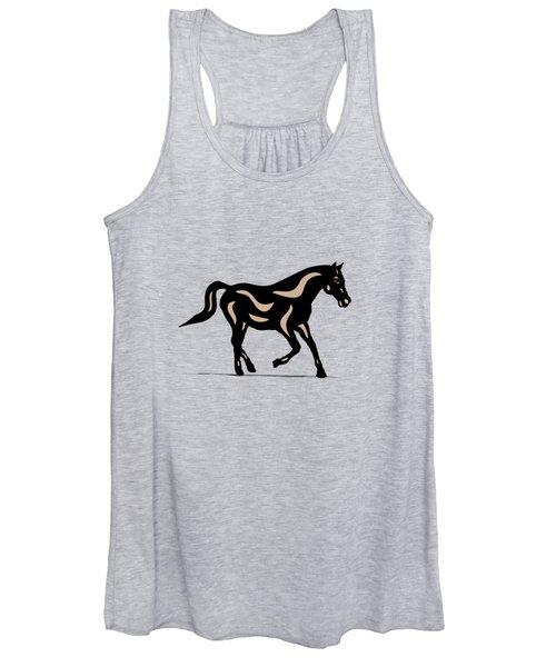 Heinrich - Pop Art Horse - Black, Hazelnut, Island Paradise Blue Women's Tank Top