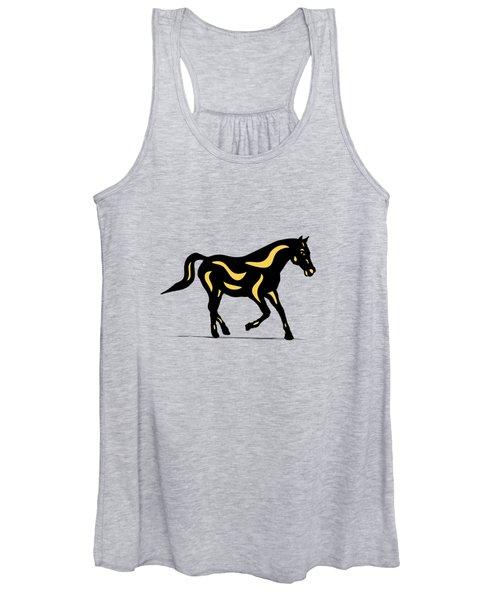 Heinrich - Pop Art Horse - Black, Primrose Yellow, Hazelnut Women's Tank Top