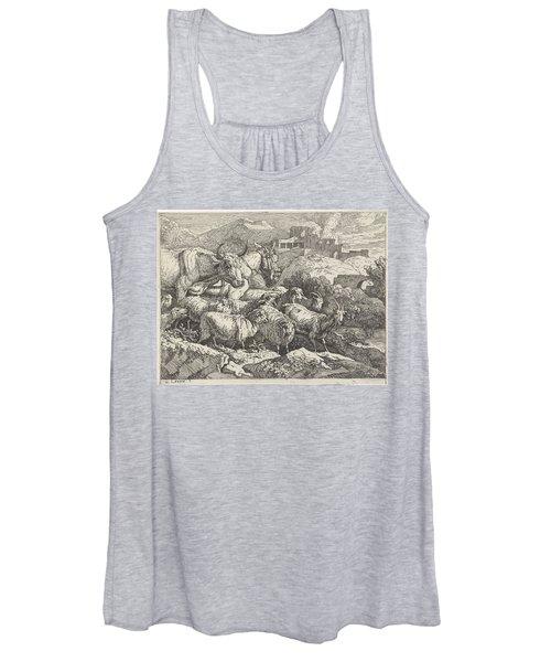 Herd Of Animals Near Ruins, Govert Van Der Leeuw, 1655 - 1688 Women's Tank Top