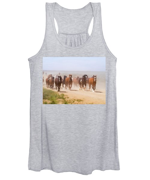 Herd Of Horses During The Great American Horse Drive On A Dusty Road Women's Tank Top