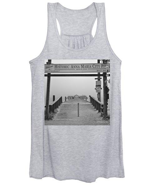 Historic Anna Maria City Pier In Fog Infrared 52 Women's Tank Top