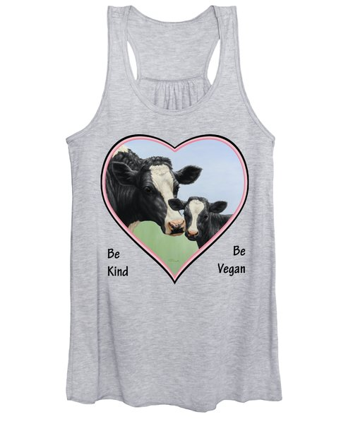 Holstein Cow And Calf Pink Heart Vegan Women's Tank Top