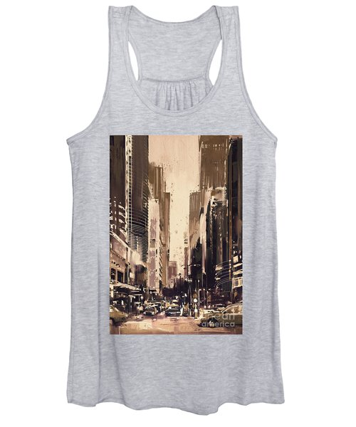 Women's Tank Top featuring the painting Hong-kong Cityscape Painting by Tithi Luadthong