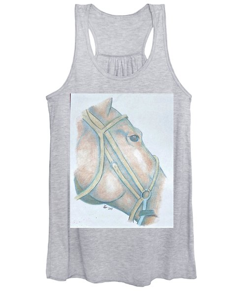 Women's Tank Top featuring the drawing Horse Head by Loretta Nash