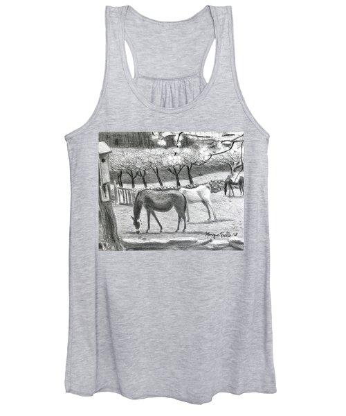 Horses And Trees In Bloom Women's Tank Top