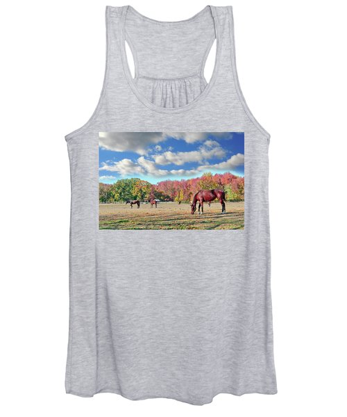 Horses Grazing At A Stable In Maryland Women's Tank Top