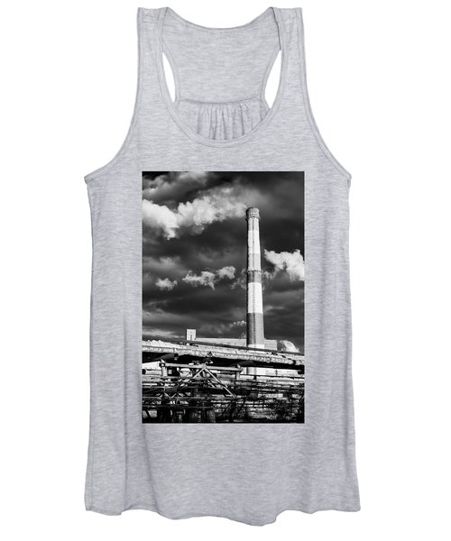Huge Industrial Chimney And Smoke In Black And White Women's Tank Top