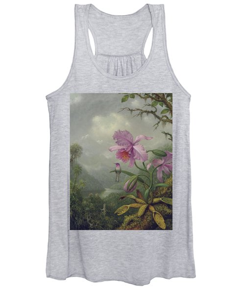 Hummingbird Perched On An Orchid Plant Women's Tank Top