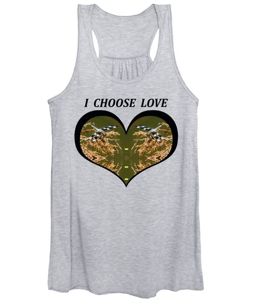 I Choose Love With Black And White Dragonflies On Golden Leave In A Heart Women's Tank Top