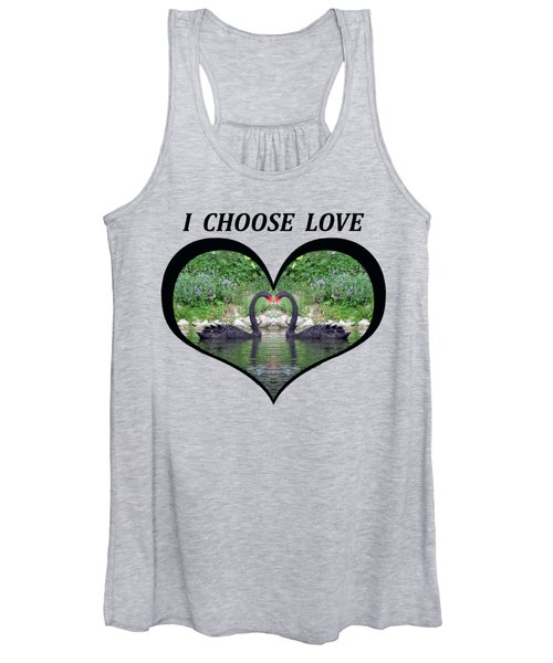 I Chose Love With Black Swans Forming A Heart Women's Tank Top