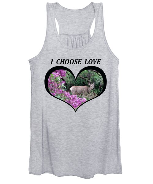 I Chose Love With Deers Among Lilacs In A Heart Women's Tank Top