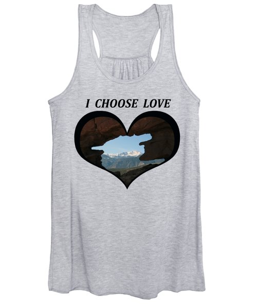 I Choose Love With Pikes Peak Viewed Through A Keyhole In A Heart Women's Tank Top