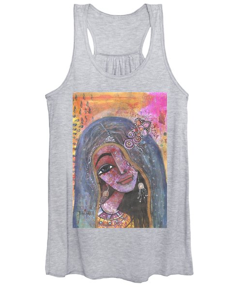 Indian Rajasthani Woman With Colorful Background  Women's Tank Top