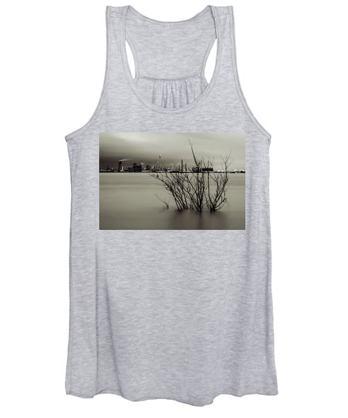 Industry On The Mississippi River, In Monochrome Women's Tank Top