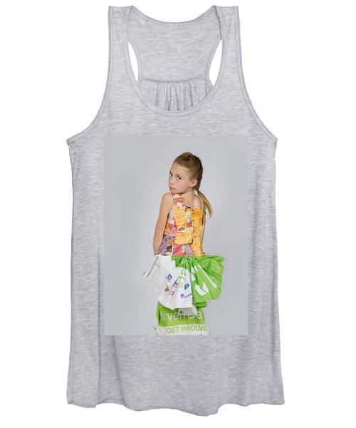 Irene In Tea Bags Shirt And Banners Skirt Women's Tank Top