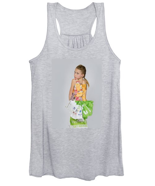 Irene In Tea Bags Shirt And Banners Skirt Women's Tank Top