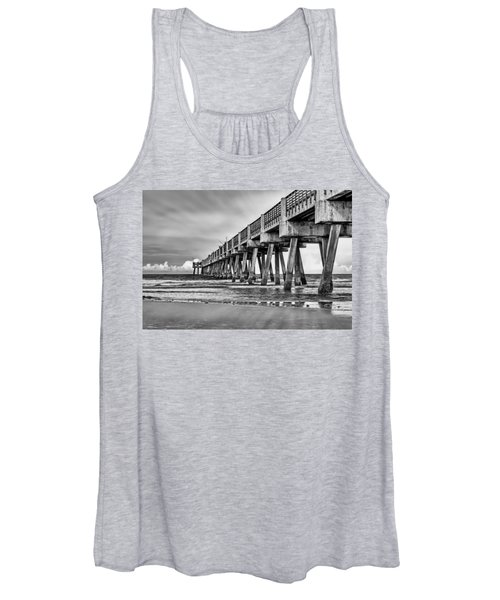 Jacksonville Beach Pier In Black And White Women's Tank Top