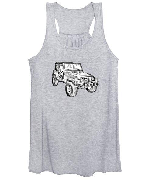 Jeep Wrangler Rubicon Illustration Women's Tank Top