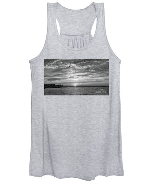 Jersey Shore Sunset In Black And White Women's Tank Top