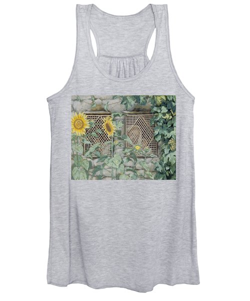 Jesus Looking Through A Lattice With Sunflowers Women's Tank Top
