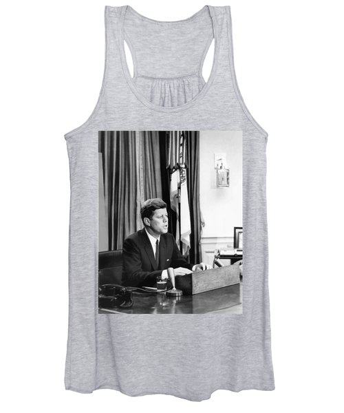 Jfk Addresses The Nation Painting Women's Tank Top