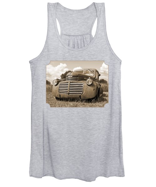 Just Resting - Vintage Gmc Truck In Sepia Women's Tank Top