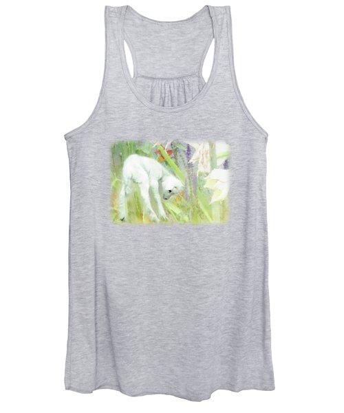 Lamb And Lilies Women's Tank Top