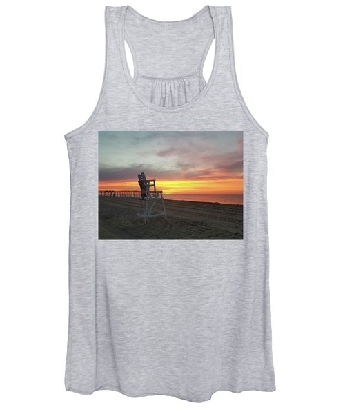 Lifeguard Stand On The Beach At Sunrise Women's Tank Top