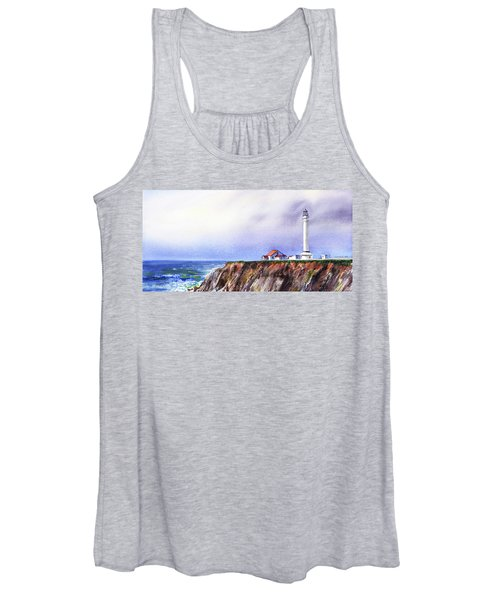 Lighthouse On The Cliff Watercolor Women's Tank Top