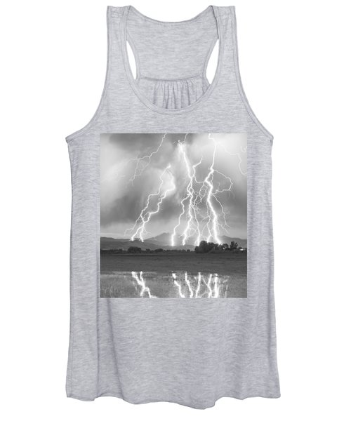 Lightning Striking Longs Peak Foothills 4cbw Women's Tank Top