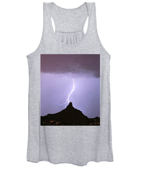 Lightning Striking Pinnacle Peak Scottsdale Az Women's Tank Top