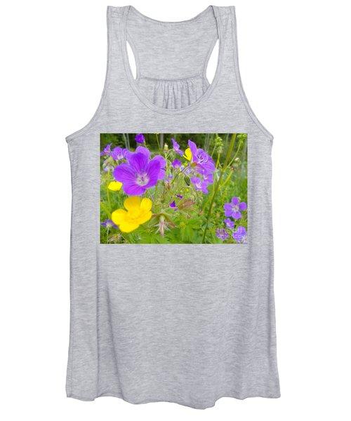 Lila Wild Flowers Women's Tank Top