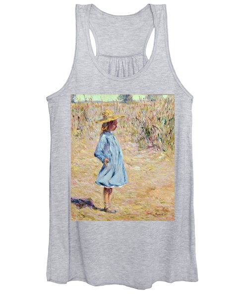 Little Girl With Blue Dress Women's Tank Top