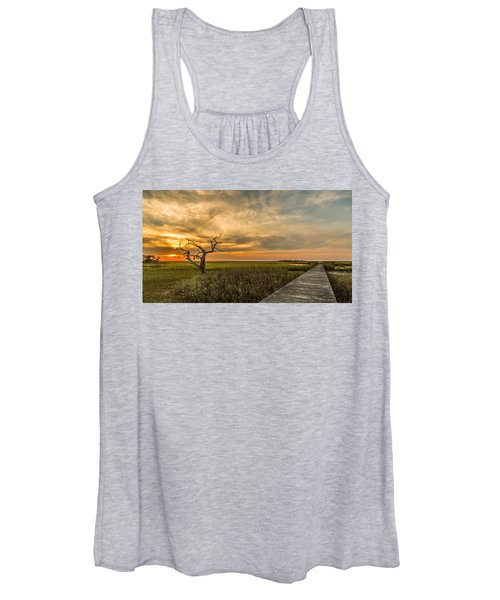 Lone Cedar Dock Sunset - Dewees Island Women's Tank Top