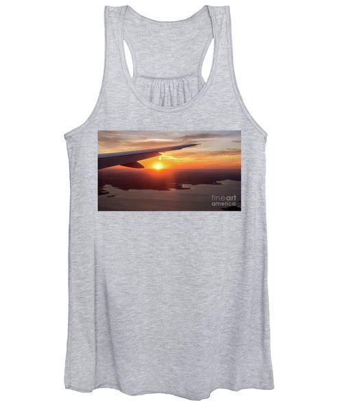Looking At Sunset From Airplane Window With Lake In The Backgrou Women's Tank Top