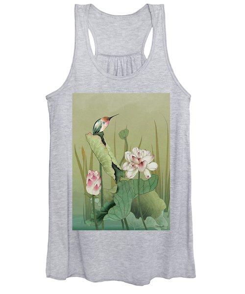 Lotus Flower And Hummingbird Women's Tank Top