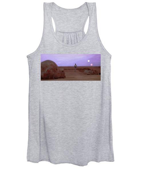 Luke Skywalker Tatooine Sunset Women's Tank Top