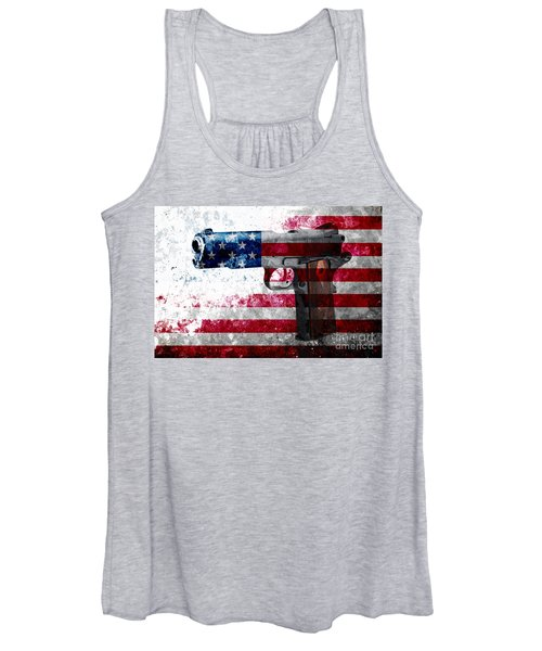 M1911 Colt 45 And American Flag On Distressed Metal Sheet Women's Tank Top