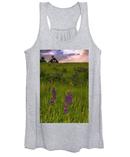 Maine Lupines And Home After Rain And Storm Women's Tank Top